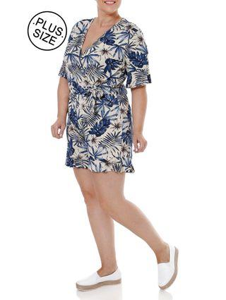 Macacao Malha Plus Size Feminino Autentique Bege/azul