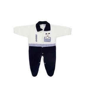 Macacão Manga Longa Infantil para Bebê Menino - Azul Marinho/off White M