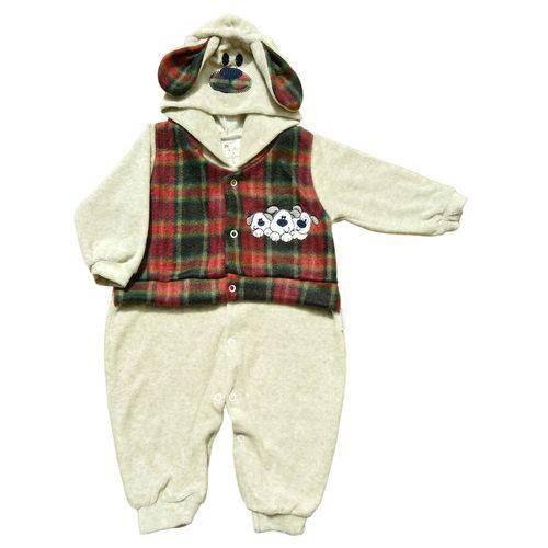 Macacão para Bebê em Plush com Colete e Touca Cachorrinho - Cinza