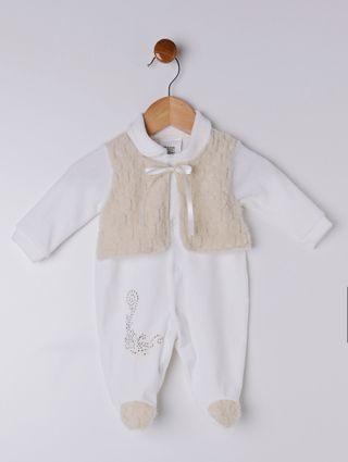 Macacão Plush Infantil para Bebê Menina - Offwhite