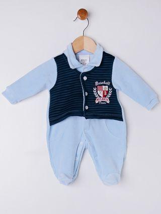 Macacão Plush Infantil para Bebê Menino - Verde/azul