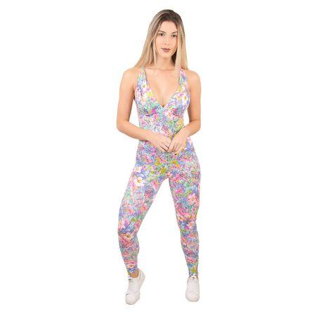Macacão Suplex Fitness Vick Estampado com Bojo (Rosa) M