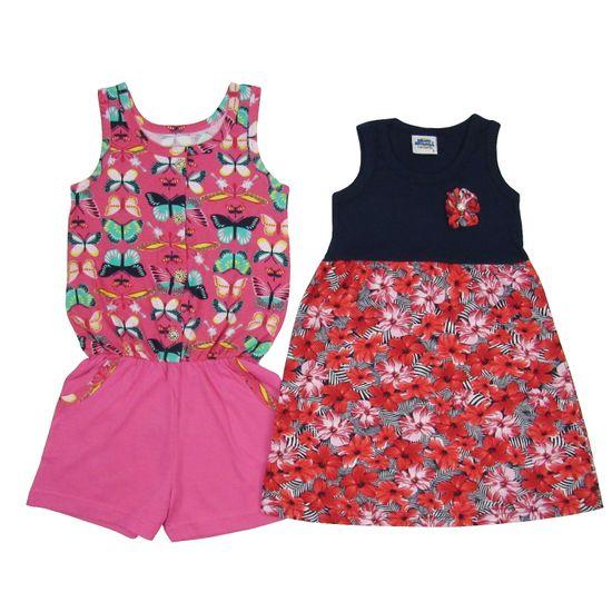 Macaquinho e Vestido Infantil Kit com 2 Unidades Pink e Azul Marinho-4