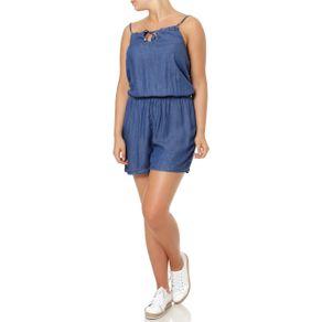 Macaquinho Jeans Feminino Azul M