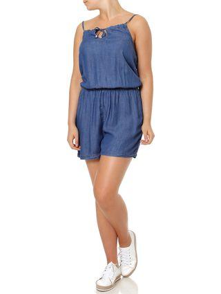 Macaquinho Jeans Feminino Azul