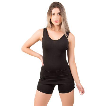 Macaquinho Short Saia Fitness Suplex Liso Preto / P