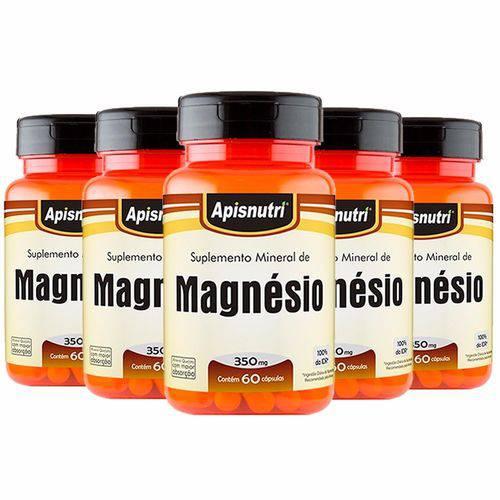 Magnésio - 5 Un de 60 Cápsulas - Apisnutri