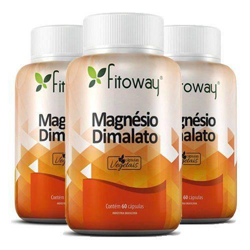 Magnésio Dimalato - 3 Un de 60 Cápsulas - Fitoway