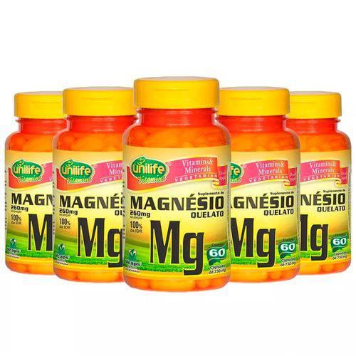 Magnésio Quelato - 5 Un de 60 Cápsulas - Unilife