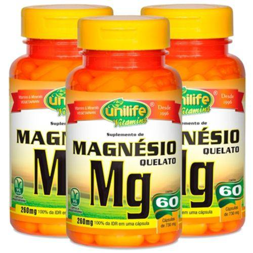 Magnésio Quelato 60 Cápsulas de 730mg Kit com 3 Frascos