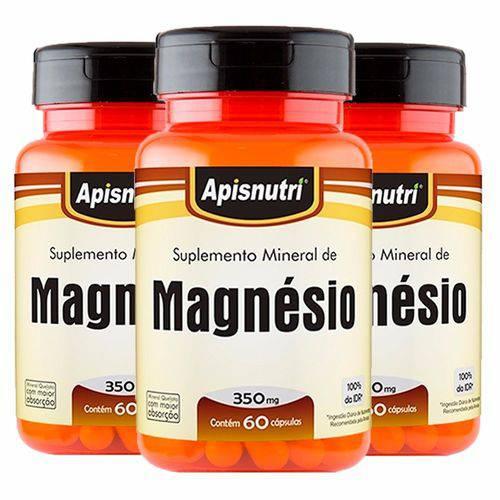 Magnésio - 3 Un de 60 Cápsulas - Apisnutri