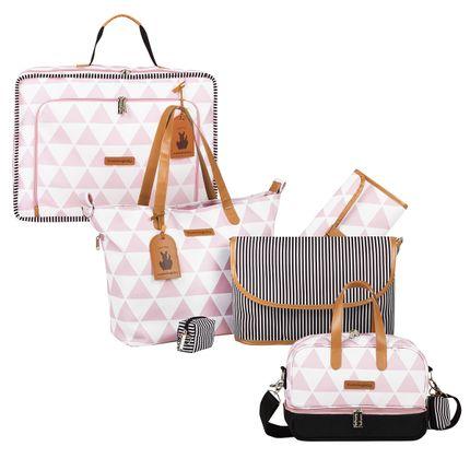 Mala Maternidade Vintage + Bolsa 4 em 1 Sofia + Frasqueira Térmica Vicky Manhattan Rosa - Masterbag