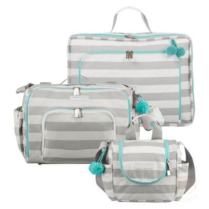 Mala Maternidade Vintage + Bolsa 2 em 1 Julie + Frasqueira Térmica Emy Candy Colors Menta - Masterbag