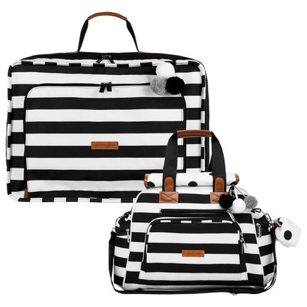 Mala Maternidade Vintage + Bolsa Everyday Brooklyn Black And White - Masterbag