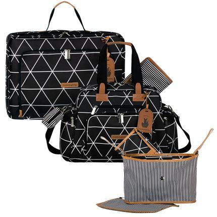 Mala Maternidade Vintage + Bolsa Everyday + Frasqueira Organizadora Manhattan Preta - Masterbag