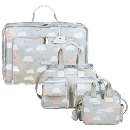 Mala Maternidade Vintage + Bolsa Toulouse + Bolsa Térmica Organizadora para Bebê Nuvem - Masterbag