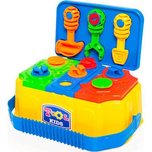 Maleta de Ferramentas Calesita Tool Kids - 3 Ferramentas e 9 Peças - Amarela