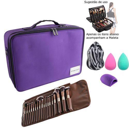 Maleta de Maquiagem + Kit Pinceis de Maquiagem 18peças + Esponjas 3d + Limpador de Pinceis - MARCO BONI