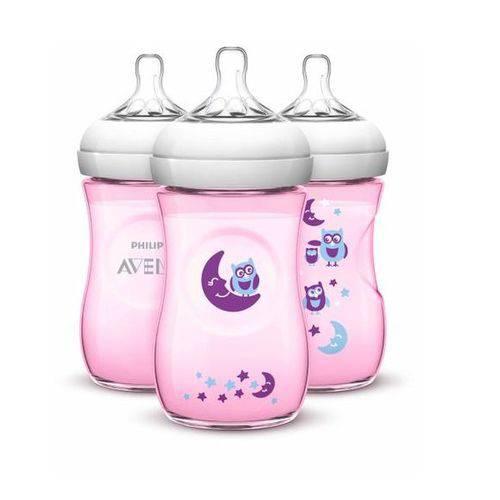 Mamadeira Avent Pétala 260ml Pack C/3 Coruja- Philips Avent - Kit de Mamadeiras - Transparente - BPA Free - Avent