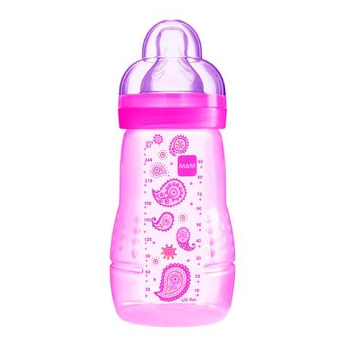Mamadeira Mam Easy Active Fashion Bottle Bico de Silicone Silk Teat Cores Sortidas 270ml 2+ Meses Grls Ref 4838