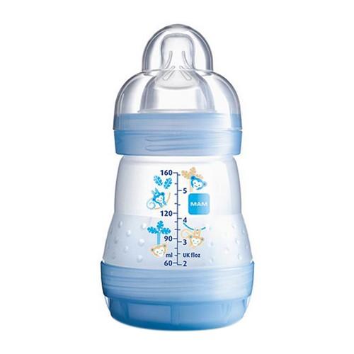 Mamadeira Mam First Bottle Bico de Silicone Ortodôntico Silk Touch Desenhos Sortidos 160ml 0+ Meses Boys Ref 4661