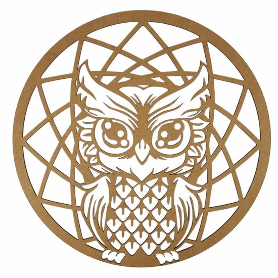 Mandala Coruja em MDF 35x35cm - Palácio da Arte
