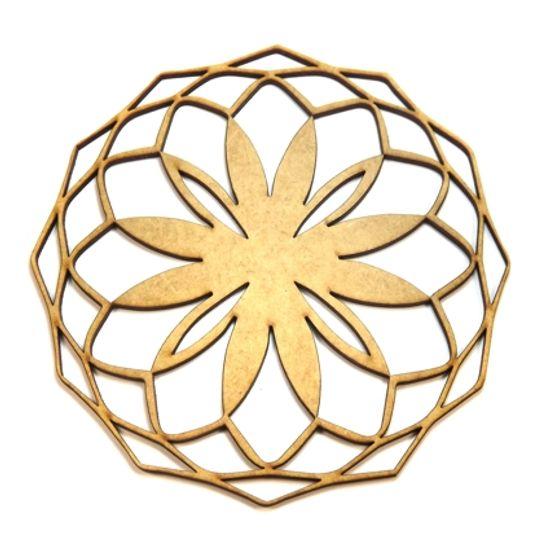 Mandala Geométrica em MDF 13x13cm - Palácio da Arte