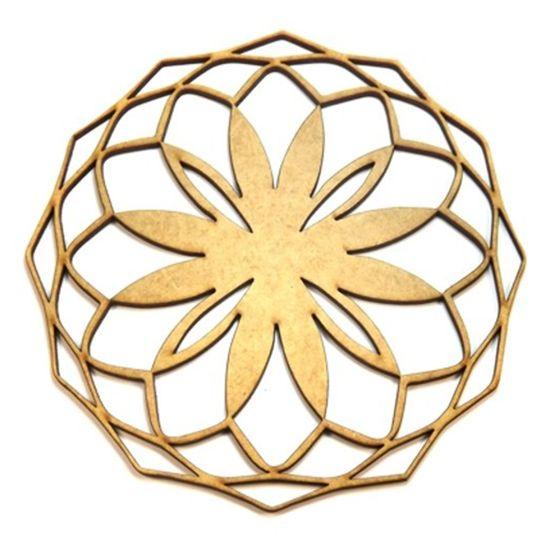 Mandala Geométrica em MDF 25x25cm - Palácio da Arte