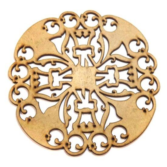Mandala Medieval em MDF 25x25cm - Palácio da Arte