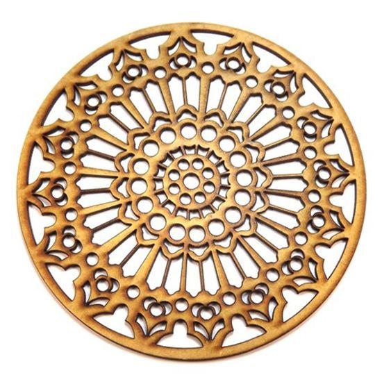 Mandala Renda em MDF 25x25cm - Palácio da Arte