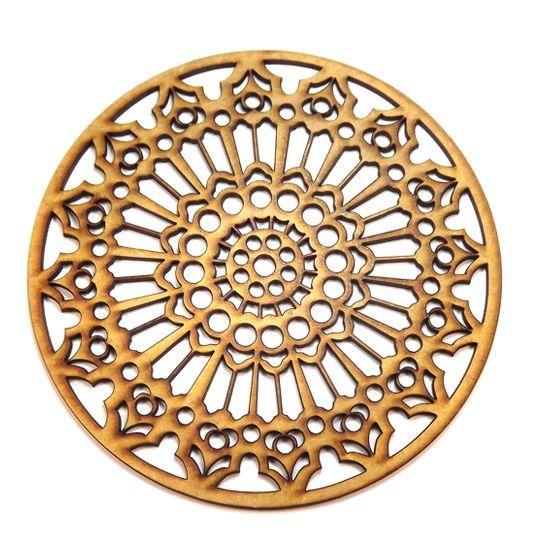 Mandala Renda em MDF 13X13cm - Palácio da Arte
