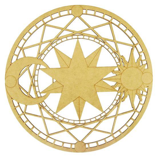 Mandala Sol e Lua em MDF 25x25cm - Palácio da Arte