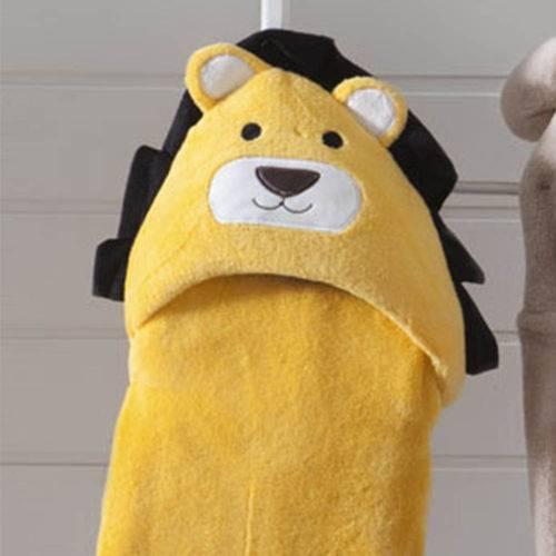Manta Baby com Capuz Leão Amarela - Jolitex