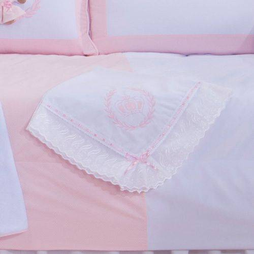 Manta de Bebê Ursa Realeza Poá Rosa 100% Algodão