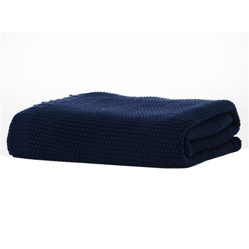 Manta de Tricot Ponto Clássico Azul Marinho 1,25X2,25