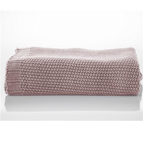 Manta de Tricot Ponto Clássico Rosa 1,25X2,25