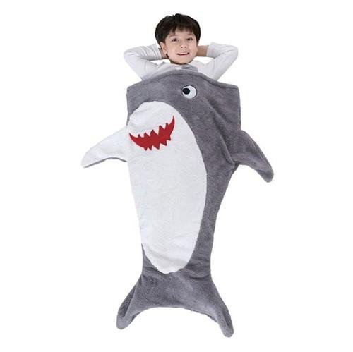 Manta Infantil de Microfibra Saco de Dormir Tubarão Bouton