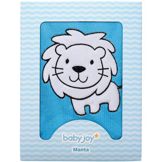 Manta Soft Bordada - Leãozinho Azul