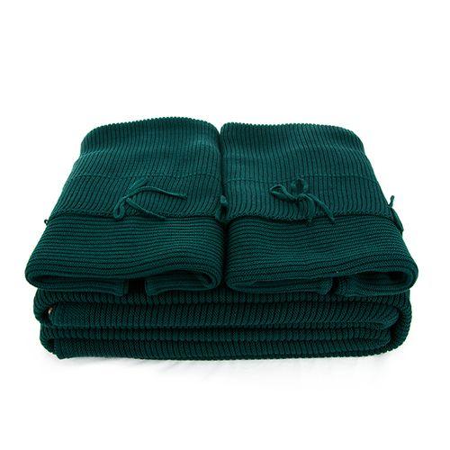 Manta Tricot Queen Verde Garrafa Rivoli com Porta Travesseiros