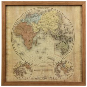 Mapa-mundi Eastern Hemisph. Quadro 33x33 Garapa/bege