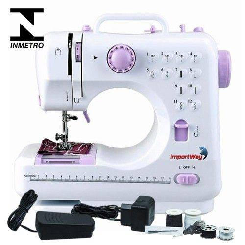 Máquina de Costura Portátil 12 Pontos Bivolt com Pedal Luz Alça Inmetro Mini Importway IWMC-505