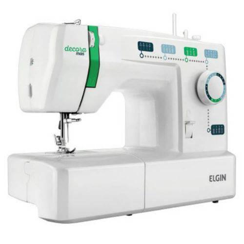 Máquina de Costura Portátil Elgin Decora Mais JX-2011 220V Branca e Verde para Uso Doméstico