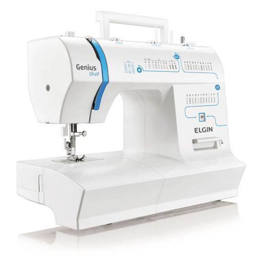 Máquina de Costura Portátil Elgin Genius Plus JX-4035 220V Branca e Azul