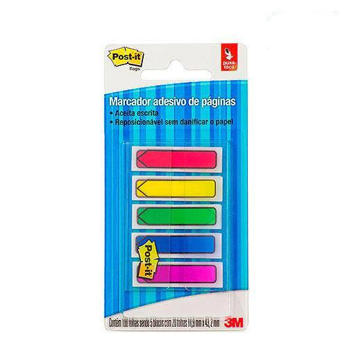 Marcador de Páginas Post-It 3M Flags Seta 5 Cores Neon