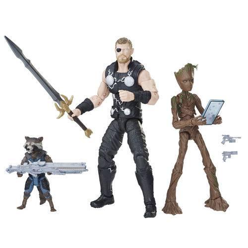 Marvel com 3 Figuras Legends 15cm Thor, Rocket e Groot E2120