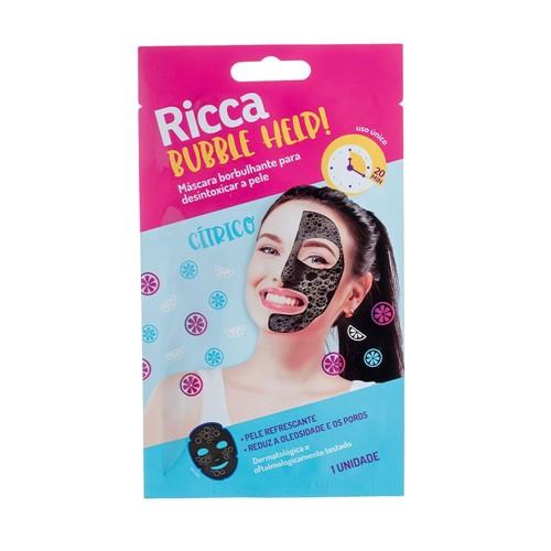 Máscara Borbulhante para Desintoxicar Ricca Bubble Help com 1 Unidade