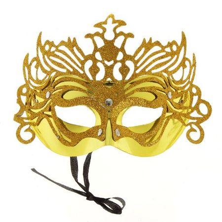Máscara de Carnaval Veneziana Dourada - Unidade