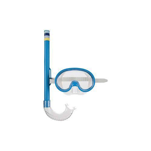 Máscara de Mergulho e Snorkel Infantil - Azul