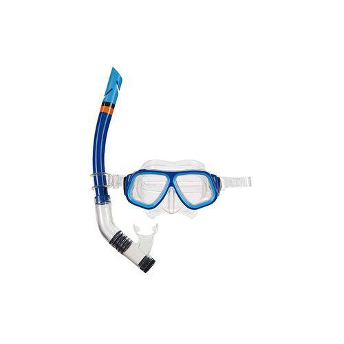 Máscara de Mergulho e Snorkel Juvenil - Azul