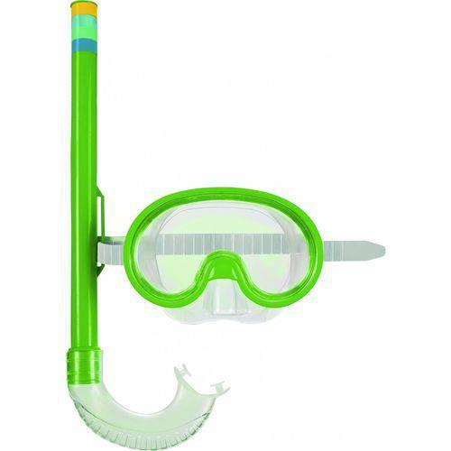 Mascara e Snorkel Mergulho Infantil Verde